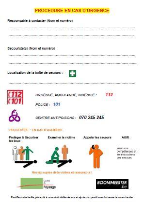 fiche indispensable sur vos chantiers : procédure en cas d'urgence